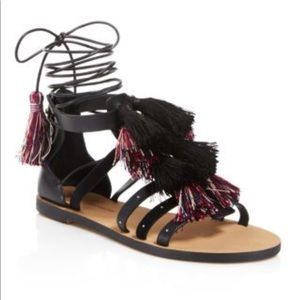 Rebecca Minkoff tasseled ankle wrap caged sandals